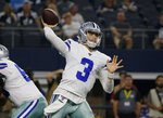 Dallas Cowboys quarterback Mike White (3) throws a pass during the first half of the team's preseason NFL football game against the Tampa Bay Buccaneers in Arlington, Texas, Thursday, Aug. 29, 2019. (AP Photo/Michael Ainsworth)
