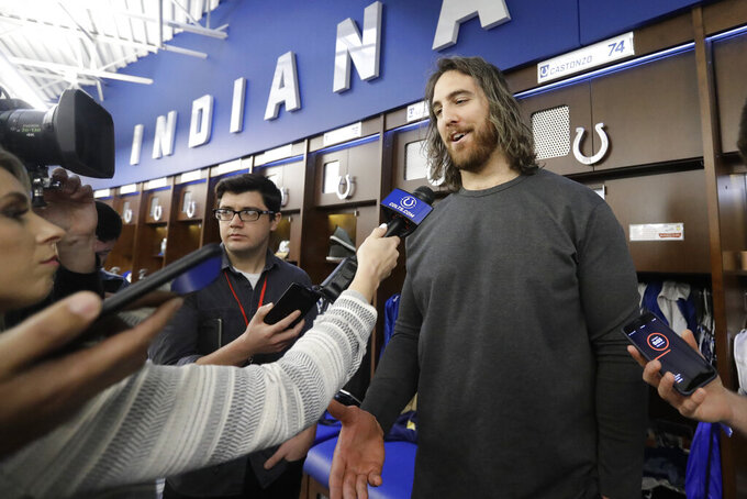 Indianapolis Colts' Anthony Castonzo speaks to the media at the team's NFL football training facility, Monday, Dec. 30, 2019, in Indianapolis. (AP Photo/Darron Cummings)