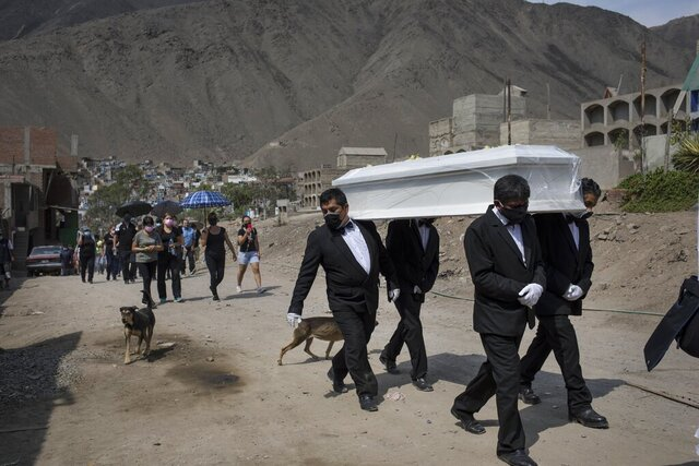 Funeral home workers carry the coffin of Pedro Miguel Infante Vilchez, 80, who died from COVID-19, to the
