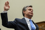 FBI Director Christopher Wray is sworn in as he testifies during an oversight hearing of the House Judiciary Committee, on Capitol Hill, Wednesday, Feb. 5, 2020 in Washington. (AP Photo/Alex Brandon)