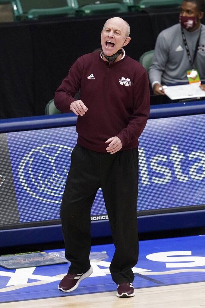 Mississippi State head coach Ben Howland instructs his team in the first half of an NCAA college basketball game against Louisiana Tech in the semifinals of the NIT, Saturday, March 27, 2021, in Frisco, Texas. (AP Photo/Tony Gutierrez)