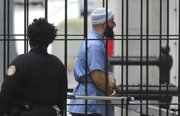 CORRECTS TO NATIONAL ASSOCIATION OF CRIMINAL DEFENSE LAWYERS, NOT LAWYERS FOR SYED - FILE - In this Feb. 3, 2016 file photo, Adnan Syed enters Courthouse East in Baltimore prior to a hearing. The National Association of Criminal Defense Lawyers have filed an amicus brief asking the U.S. Supreme Court to review the case of Syed, convicted of murder in a case chronicled on the podcast