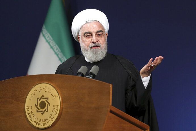 In this photo released by the official website of the office of the Iranian Presidency, President Hassan Rouhani speeches before the heads of banks, in Tehran, Iran, Thursday, Jan. 16, 2020. Iran's president said Thursday that there is