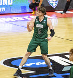 Ohio forward Ben Vander Plas (5) reacts as he scores a three-point basket as the buzzer sounds to end the first half of a first-round game against Virginia in the NCAA men's college basketball tournament, Saturday, March 20, 2021, at Assembly Hall in Bloomington, Ind. (AP Photo/Doug McSchooler)