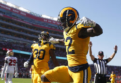 FILE - In this Oct. 21, 2018, file photo, Los Angeles Rams wide receiver Brandin Cooks (12) celebrates after scoring a touchdown against the San Francisco 49ers during the first half of an NFL football game in Santa Clara, Calif. Cooks is the first player in NFL history to have three consecutive 1,000-yard receiving seasons with three different teams. (AP Photo/Tony Avelar, File)