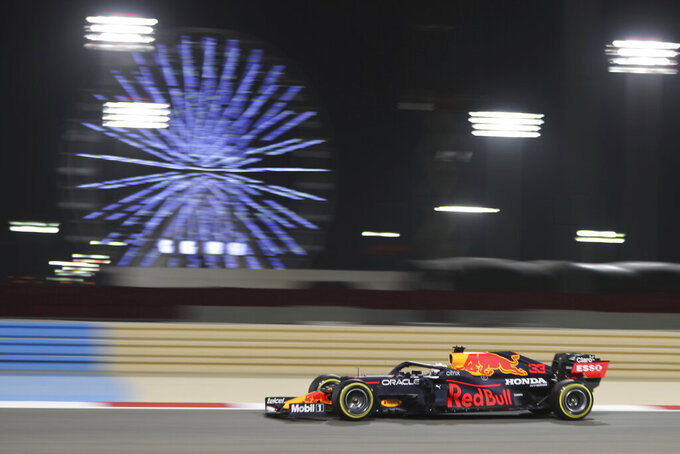 Red Bull driver Max Verstappen of the Netherlands steers his car during the second free practice at the Formula One Bahrain International Circuit in Sakhir, Bahrain, Friday, March 26, 2021. The Bahrain Formula One Grand Prix will take place on Sunday. (AP Photo/Kamran Jebreili)