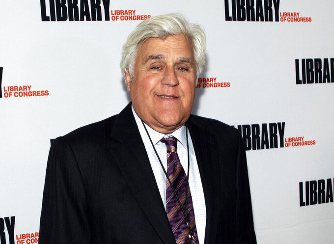 """FILE - Jay Leno attends the Gershwin Prize Honoree's Tribute Concert in Washington on March 4, 2020. Leno is host of """"You Bet Your Life,"""" a reboot of the Groucho Marx game show that debuts Monday on Fox TV stations. (Photo by Brent N. Clarke/Invision/AP, File)"""
