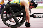Sam McIntosh of Australia prepare to compete men's 400m in the T52 class at the 2020 Summer Paralympics, Friday, Aug. 27, 2021, in Tokyo, Japan. Each athlete has unique differences that have to be classified according to individual impairments. (AP Photo/Eugene Hoshiko)