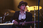 FILE - In this May 4, 2017 file photo, British musician Pete Doherty performs on stage during a concert in Paris. Paris authorities say British singer Pete Doherty has been arrested in Paris for buying drugs. The Paris prosecutor's office said the 40-year old former Libertines and Babyshambles front man was placed in detention in night of Thursday-Friday Nov.8, 2019 after being stopped by police during a drugs transaction. (AP Photo/Francois Mori, File)