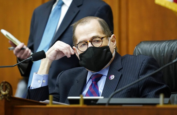House Judiciary Committee Chairman Jerrold Nadler, D-N.Y., listens as his panel holds a markup of a bill to create a commission to study and address social disparities in the African American community today. (AP Photo/J. Scott Applewhite)