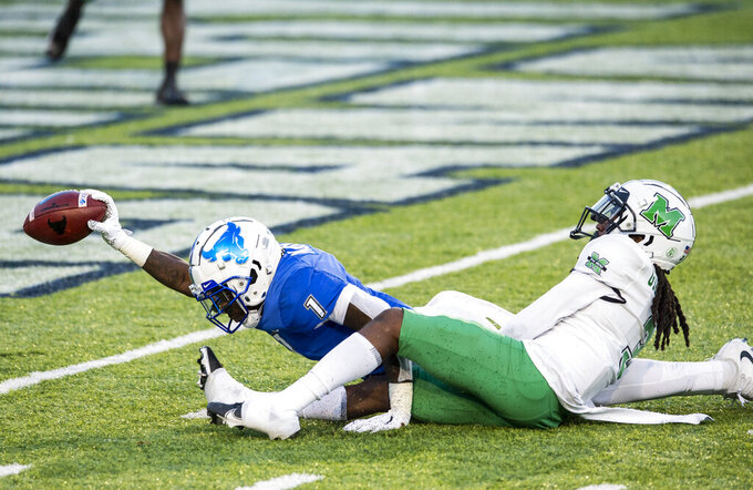 Buffalo wide receiver Antonio Nunn (1) comes up a yard short of the goal line during the Camellia Bowl NCAA college football game against Marshall, Friday, Dec. 25, 2020, in Montgomery, Ala. The play helped to set up the winning touchdown. (Jake Crandall/The Montgomery Advertiser via AP)