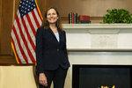 Supreme Court nominee Judge Amy Coney Barrett, smiles during a meeting with Sen. David Purdue, R-Ga., on Capitol Hill, Wednesday, Sept. 30, 2020, in Washington. (AP Photo/Manuel Balce Ceneta, POOL)