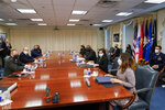 Secretary of Defense Lloyd Austin and Israeli Prime Minister Naftali Bennett are seated for a meeting at the Pentagon in Washington, Wednesday, Aug. 25, 2021. (AP Photo/Andrew Harnik)