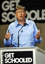 FILE - In this Sept. 8, 2009, file photo Microsoft co-founder Bill Gates speaks at the