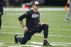 New Orleans Saints quarterback Drew Brees warms up before an NFL football game against the Carolina Panthers, Sunday, Nov. 24, 2019, in New Orleans, LA. (AP Photo/Butch Dill)