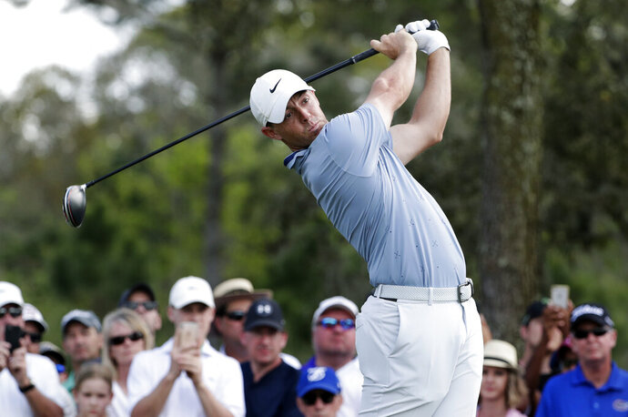 Rory McIlroy, of Northern Ireland, tees off on the ninth hole during the second round of The Players Championship golf tournament Friday, March 15, 2019, in Ponte Vedra Beach, Fla. (AP Photo/Lynne Sladky)