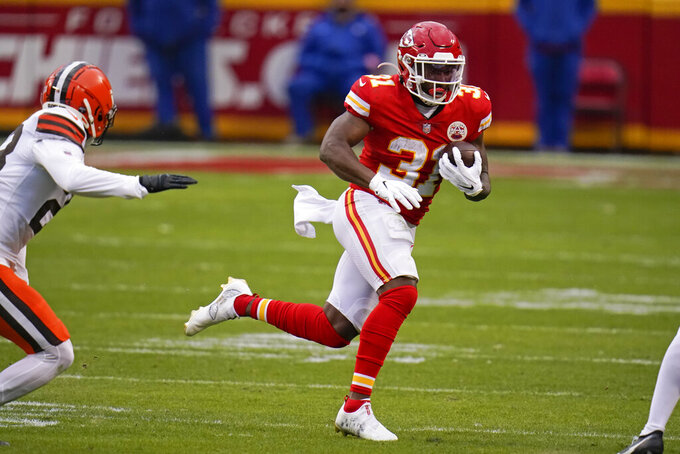 Kansas City Chiefs running back Darrel Williams carries the ball up field during the second half of an NFL divisional round football game against the Cleveland Browns, Sunday, Jan. 17, 2021, in Kansas City. (AP Photo/Jeff Roberson)
