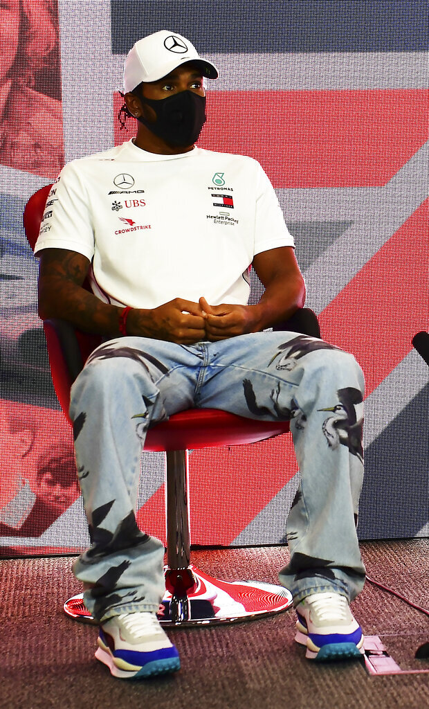 Lewis Hamilton of Great Britain and Mercedes GP talks in the Drivers Press Conference during previews ahead of the F1 Grand Prix of Great Britain at Silverstone on Thursday, July 30, 2020 in Silverstone, England. (AP Photo/Mario Renzi via Getty Images)