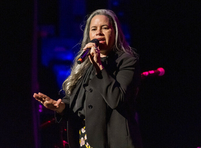 FILE - This Dec. 8, 2018 file photo shows Natalie Merchant performing at Cyndi Lauper's 8th Annual