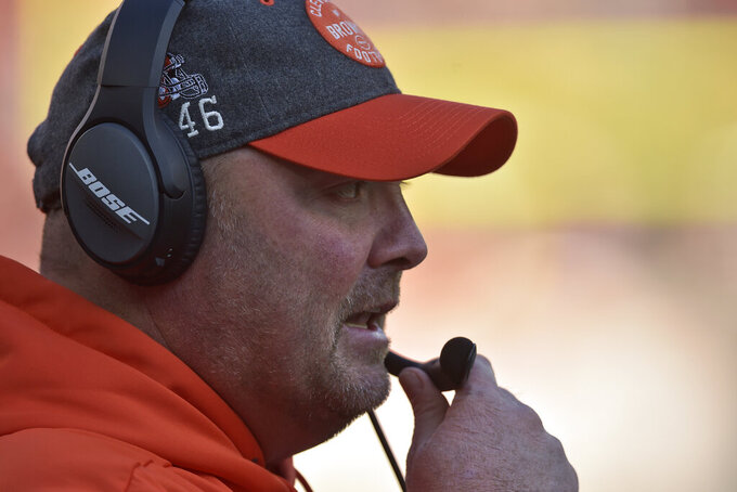 Cleveland Browns head coach Freddie Kitchens watches the second half of an NFL football game against the Miami Dolphins, Sunday, Nov. 24, 2019, in Cleveland. (AP Photo/David Richard)