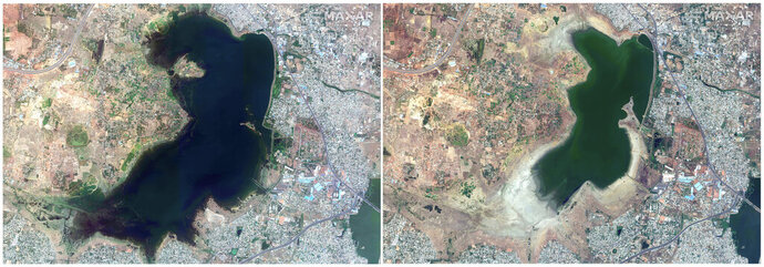 This combo of June 15, 2018, satellite image, left and April 6, 2019, satellite image right provided by Maxar Technologies shows Puzhal reservoir in Chennai, India before and during drought. Millions of people are turning to water tank trucks in the southern Indian state of Tamil Nadu as house and hotel taps run dry because of an acute water shortage caused by drying lakes and depleted groundwater. (Satellite image ©2019 Maxar Technologies via AP)