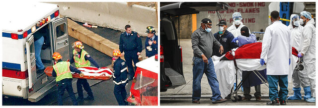 In this combination of photos, the flag-draped remains of a Sept. 11 victim are carried by New York firefighters during a recovery operation March 8, 2002, left, and at right, a body is unloaded from a refrigerated truck in New York during the coronavirus outbreak on March 31, 2020. New York City's death toll from the coronavirus officially eclipsed the number of those killed at the World Trade Center on 9/11, health officials said Tuesday, April 7, 2020. (AP Photos)