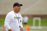 Missouri head coach Barry Odom watches his players an NCAA college football practice Monday, Aug. 12, 2019, in Columbia, Mo. (AP Photo/Jeff Roberson)