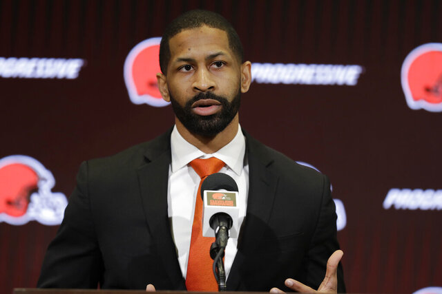 FILE  - In this Feb. 5, 2020, file photo, Cleveland Browns general manager Andrew Berry speaks during a news conference at the NFL football team's training camp facility in Berea, Ohio. Berry's first draft as Browns general manager was undeniably unique and unforgettable. It is way too early to know if it was successful. (AP Photo/Tony Dejak, File)