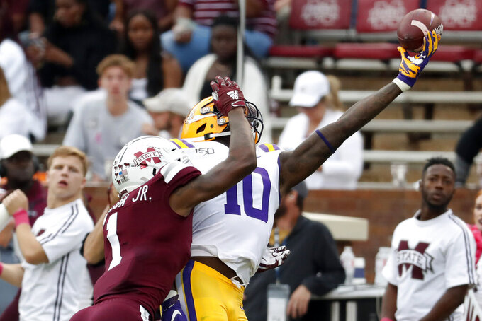 Mississippi State cornerback Martin Emerson (1) breaks up a pass intended for LSU tight end Stephen Sullivan (10) during the second half of an NCAA college football game in Starkville, Miss., Saturday, Oct. 19, 2019. LSU won 36-13. (AP Photo/Rogelio V. Solis)