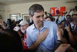 Democratic presidential candidate and former Texas congressman Beto O'Rourke meets with supporters at a campaign stop at a coffee shop Sunday, March 24, 2019, in Las Vegas. (AP Photo/John Locher)