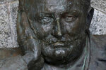 This June 10, 2020, photo, shows a restored bust of British colonialist Cecil Rhodes, which was vandalized in 2015 at the Rhodes Memorial in Cape Town, South Africa. New campaigns in the U.S. and Europe to pull down monuments to slave traders and colonial rulers are now following Africa's lead. (AP Photo/Nardus Engelbrecht)