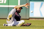 Cleveland Indians center fielder Bradley Zimmer allows two runs when he can't get to a ball in shallow right field in the sixth inning of a baseball game against the Cleveland Indians at Nationals Park, Sunday, Sept. 29, 2019, in Washington. (AP Photo/Andrew Harnik)