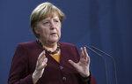 German Chancellor Angela Merkel addresses the media in Berlin, Germany, Thursday, Nov. 19, 2020 following a virtual meeting of the European council. (AP Photo/Michael Sohn, pool)