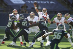 San Francisco 49ers quarterback Jimmy Garoppolo passes against the Seattle Seahawks during the first half of an NFL football game, Sunday, Nov. 1, 2020, in Seattle. (AP Photo/Scott Eklund)