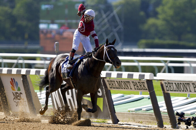 Jockey Ricardo Santana Jr. reacts after crossing the finish line to win the 128th running of the Metropolitan horse race, Saturday, June 5, 2021, At Belmont Park in Elmont, N.Y. (AP Photo/Eduardo Munoz Alvarez)