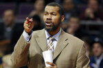 FILE - In this Feb. 24, 2014, file photo, Detroit Pistons assistant coach Rasheed Wallace directs players  during the second half of an NBA basketball game against the Golden State Warriors in Auburn Hills, Mich. Memphis coach Penny Hardaway has added 16-year NBA veteran Rasheed Wallace as an assistant coach on a staff that also features former NBA coach Larry Brown.  (AP Photo/Carlos Osorio, File)