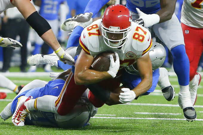 Kansas City Chiefs tight end Travis Kelce (87) is tackled during the first half of an NFL football game against the Detroit Lions, Sunday, Sept. 29, 2019, in Detroit. (AP Photo/Duane Burleson)