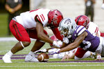 Kansas State defensive back D.J. Render (23) recovers an on-side kick during the first half of an NCAA college football game against Arkansas State Saturday, Sept. 12, 2020, in Manhattan, Kan. (AP Photo/Charlie Riedel)