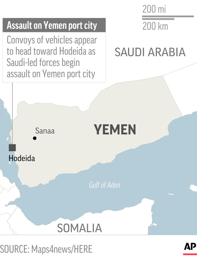 Map locates Hodeida, Yemen, where Saudi-led forces began assault; 1c x 2 inches; 46.5 mm x 50 mm;