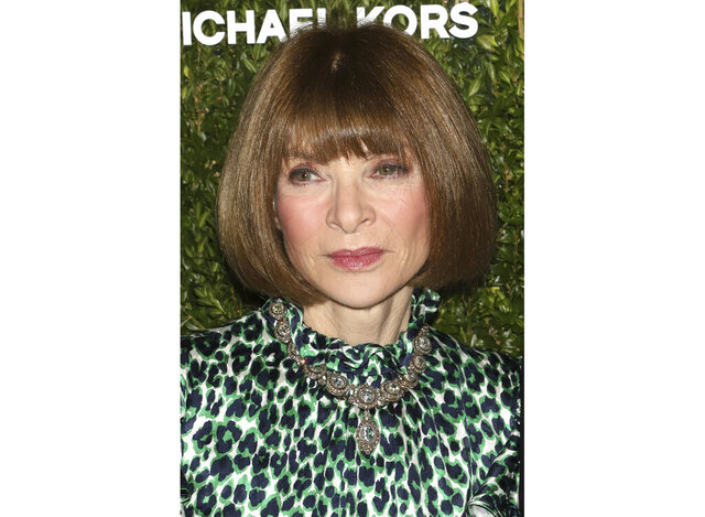 "FILE - This Oct. 21, 2019 file photo shows Anna Wintour at the God's Love We Deliver Golden Heart Awards in New York. Wintour has apologized for what she described as mistakes made in her 32-year tenure in not doing enough to elevate black voices on her staff. The fashion doyenne's mea culpa in an internal email also covered the magazine's publishing of images and stories that she said were racially and culturally ""hurtful or intolerant.""  (Photo by Greg Allen/Invision/AP, File)"