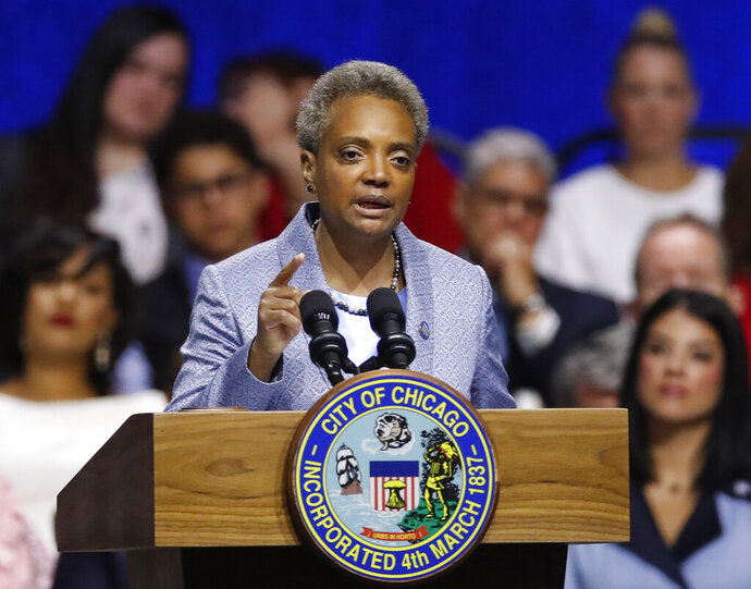 Mayor of Chicago Lori Lightfoot speaks during her inauguration ceremony Monday, May 20, 2019, in Chicago. (AP Photo/Jim Young)