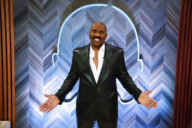 "Steve Harvey poses for a portrait on Thursday, Sept. 17, 2020 in Atlanta. Harvey says his daytime talk show being canceled by NBC opened up new doors with Facebook Watch. The comedian launched ""Steve on Watch"