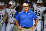 FILE - In this Sept. 21, 2019, file photo, SMU head coach Sonny Dykes waits with his team before playing TCU in an NCAA college football game in Fort Worth, Texas. Memphis plays at SMU on Saturday, Oct. 3, 2020.(AP Photo/Ron Jenkins, File)