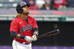 Cleveland Indians' Jose Ramirez watches his triple in the fourth inning of a baseball game against the New York Yankees, Saturday, April 24, 2021, in Cleveland. (AP Photo/Tony Dejak)