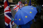 An anti-Brexit remain in the European Union supporter protests with a European flag design umbrella opposite the Houses of Parliament in London, Thursday, Oct. 24, 2019. Britain's Prime Minister Boris Johnson won Parliament's backing for his exit deal on Wednesday, but then lost a key vote on its timing, effectively guaranteeing that Brexit won't happen on the scheduled date of Oct. 31. (AP Photo/Matt Dunham)