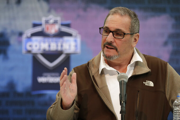 FILE - In this Feb. 27, 2019, file photo, New York Giants general manager Dave Gettleman speaks during a press conference at the NFL football scouting combine in Indianapolis. After a week of being beat up in the media over the trade of the popular star receiver Odell Beckham Jr., general manager Dave Gettleman went on the offensive, Monday, March 18, 2019, saying the trade was the best interests of the New York Giants and was a deal the organization could not refuse.  (AP Photo/Michael Conroy, File)