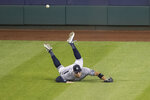 New York Yankees right fielder Aaron Judge cannot catch a hit by Washington Nationals' Asdrubal Cabrera for a double during the fifth inning of a baseball game at Nationals Park, Saturday, July 25, 2020, in Washington. (AP Photo/Alex Brandon)