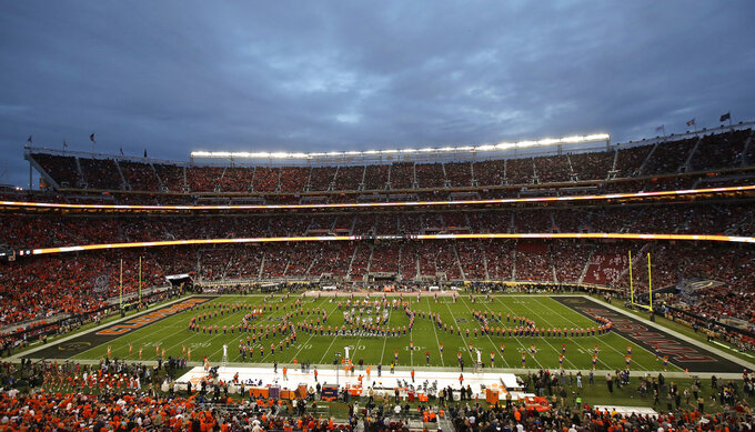 The Clemson band performs before the NCAA college football playoff championship game against Alabama, Monday, Jan. 7, 2019, in Santa Clara, Calif. (AP Photo/Jeff Chiu)