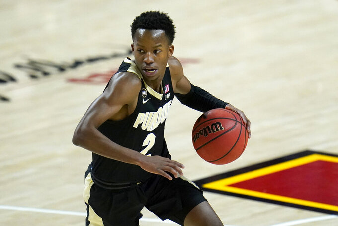 Purdue guard Eric Hunter Jr. drives to the basket against Maryland during the first half of an NCAA college basketball game, Tuesday, Feb. 2, 2021, in College Park. (AP Photo/Julio Cortez)