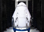 This February 2020 photo shows the SpaceX Crew Dragon capsule after its arrival to the Kennedy Space Center in Cape Canaveral, Fla. (SpaceX via AP)